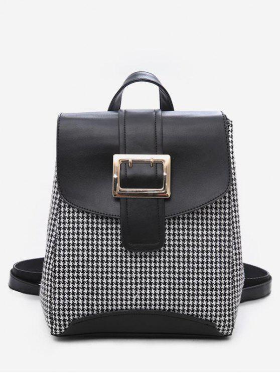 sale Plaid Pattern Buckle School Backpack - BLACK