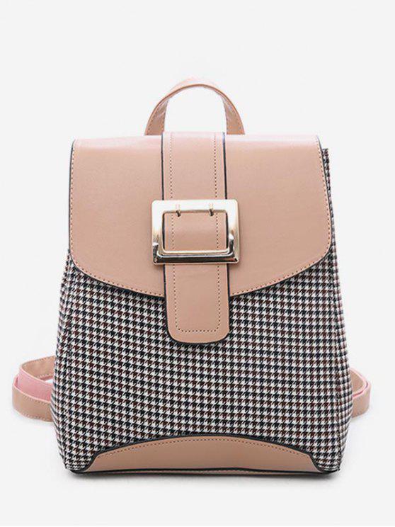 affordable Plaid Pattern Buckle School Backpack - ORANGE PINK