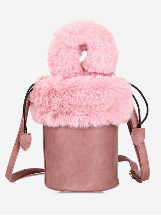 buy Faux Fur String Design Bucket Bag - LIGHT PINK