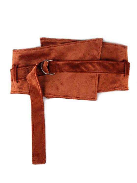 women's Metal Buckle Solid Color Wide Waist Belt - CHESTNUT RED