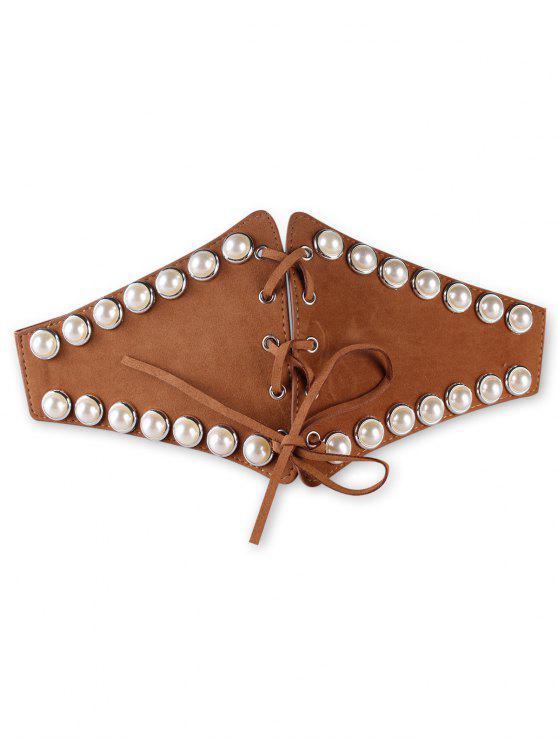 lady Stylish Faux Pearl Elastic Wide Waist Belt - DARK GOLDENROD