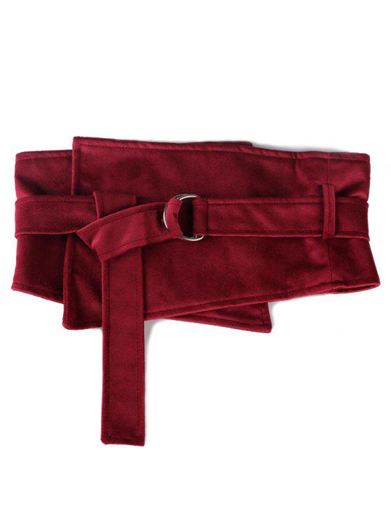 best Metal Buckle Solid Color Wide Waist Belt - CHERRY RED