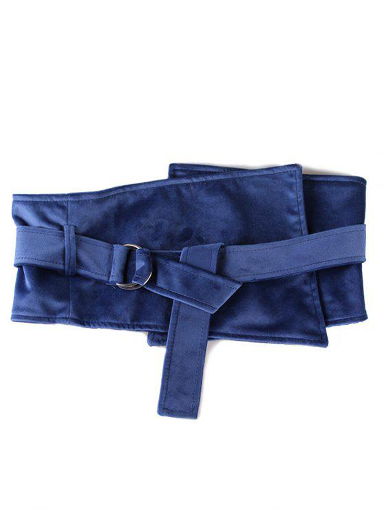 new Metal Buckle Solid Color Wide Waist Belt - LAPIS BLUE