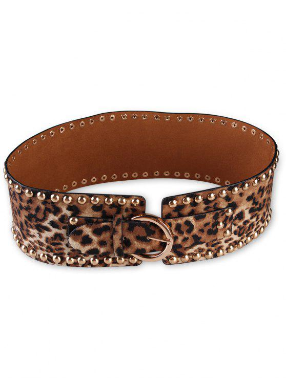 hot Metal Buckle Rivets Leopard Wide Waist Belt - LEOPARD