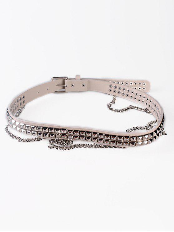 outfit Metal Rivets Chain Faux Leather Punk Waist Belt - BEIGE