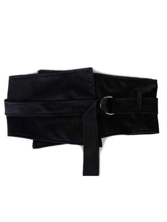 outfits Metal Buckle Solid Color Wide Waist Belt - BLACK
