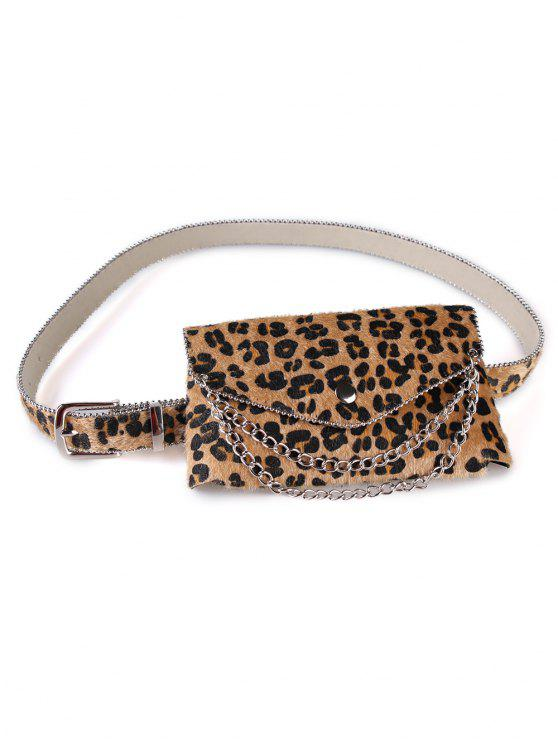 shops Unique Leopard Chain Fanny Pack Waist Belt Bag - CINNAMON