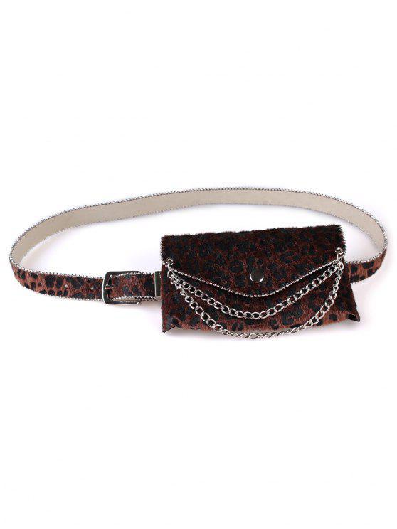 latest Unique Leopard Chain Fanny Pack Waist Belt Bag - COFFEE