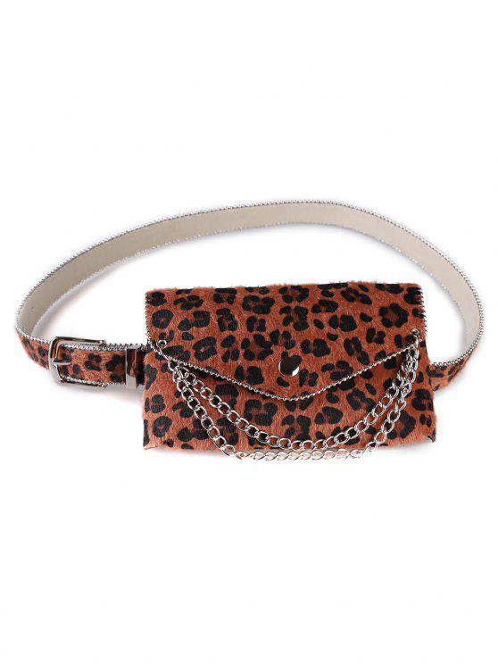 women's Unique Leopard Chain Fanny Pack Waist Belt Bag - CAMEL BROWN