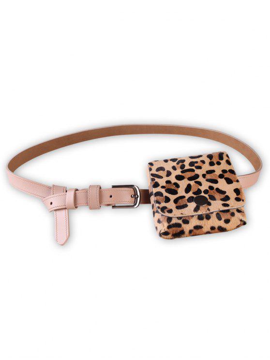 best Leopard Fanny Pack Faux Leather Waist Belt Bag - APRICOT