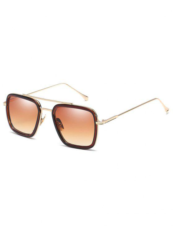 trendy Metal Frame Crossbar Squared Sunglasses - CAMEL BROWN