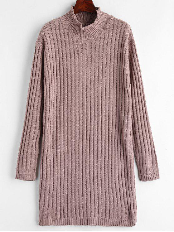 Mock Neck Pullover Kleid - Glyzinie Lila Eine Größe