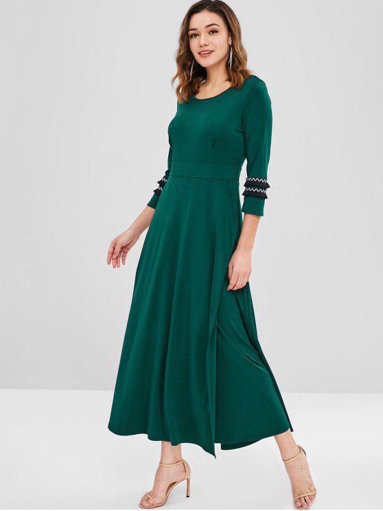 lady Side Pockets Fringed Maxi Dress - MEDIUM SEA GREEN L