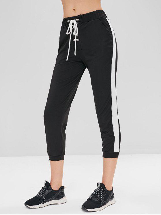 chic Side Stripe Lace Up Joggers Pants - BLACK M