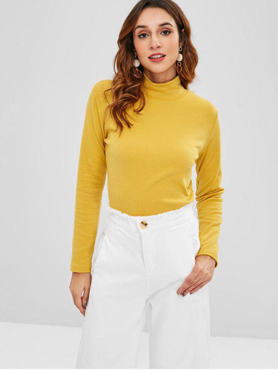 lady High Collar Long Sleeve T-Shirt - MUSTARD ONE SIZE