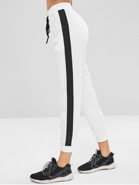 Side Stripe Lace Up بنطلون ركض - أبيض M