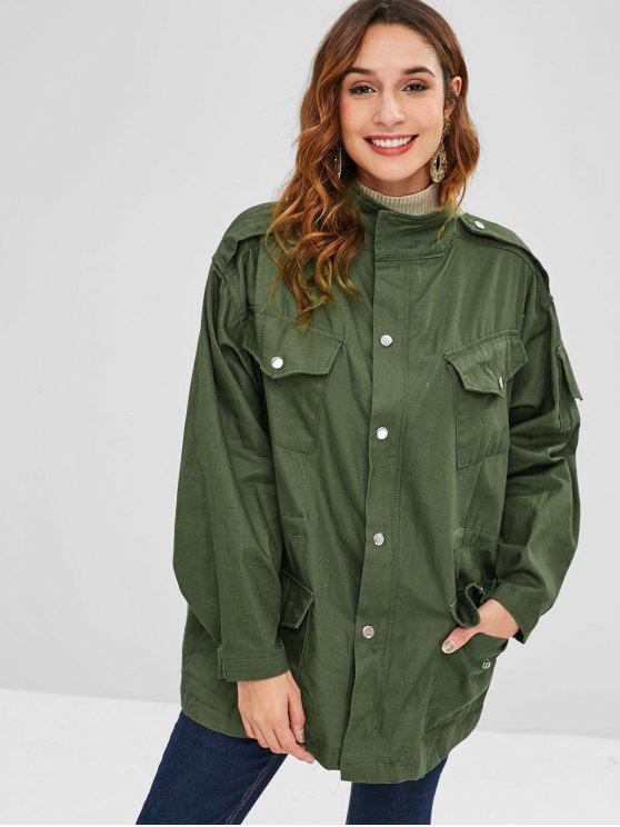 unique Drawstring Tunic Zip Pocket Coat - ARMY GREEN ONE SIZE