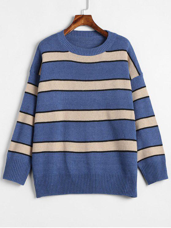 unique Tricolor Striped Oversized Sweater - MULTI ONE SIZE