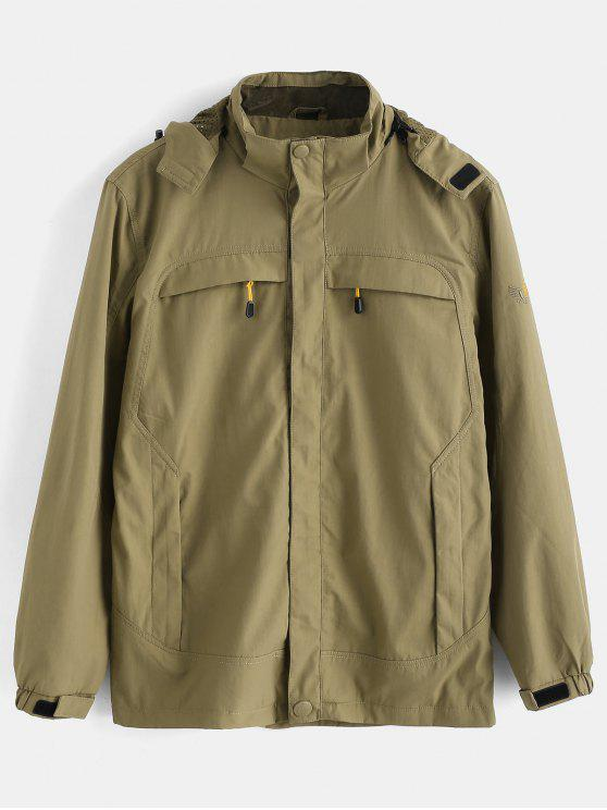 chic Solid Zip Windbreaker Jacket - KHAKI L