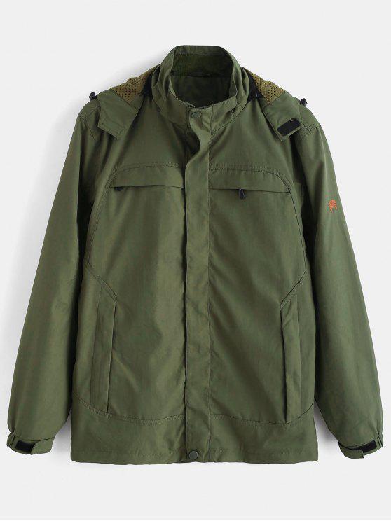 fancy Solid Zip Windbreaker Jacket - ARMY GREEN M