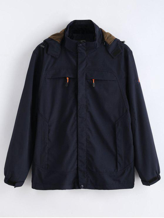 sale Solid Zip Windbreaker Jacket - DEEP BLUE L