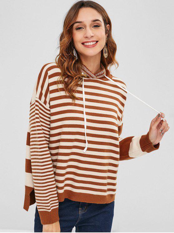 fashion Slit High Low Stripes Sweater - MULTI ONE SIZE