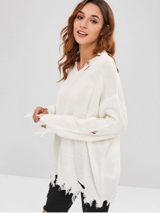 fancy Frayed Hem Ripped Tunic Sweater - WHITE ONE SIZE