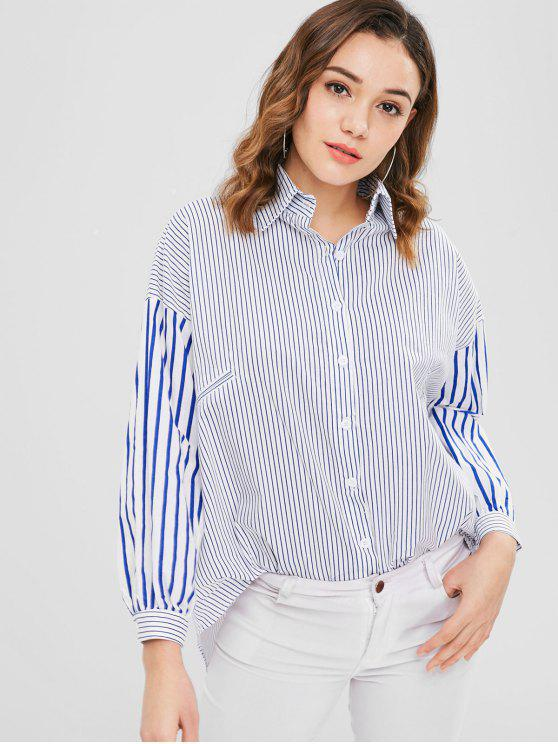 unique Drop Shoulder Loose Striped Shirt - MULTI S
