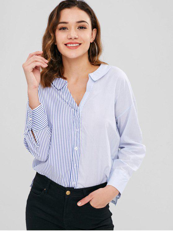 6f6d96d8b 22% OFF] 2019 V Neck Striped Lace-up Shirt In MULTI   ZAFUL