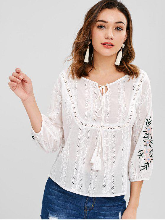 affordable Flower Embroidered Eyelet Blouse - WHITE ONE SIZE