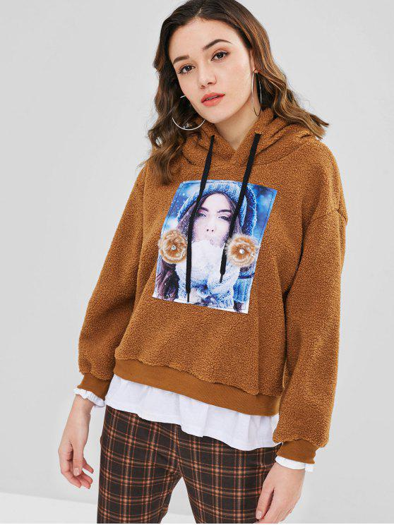 women Contrasting Graphic Faux Shearling Teddy Hoodie - TIGER ORANGE ONE SIZE