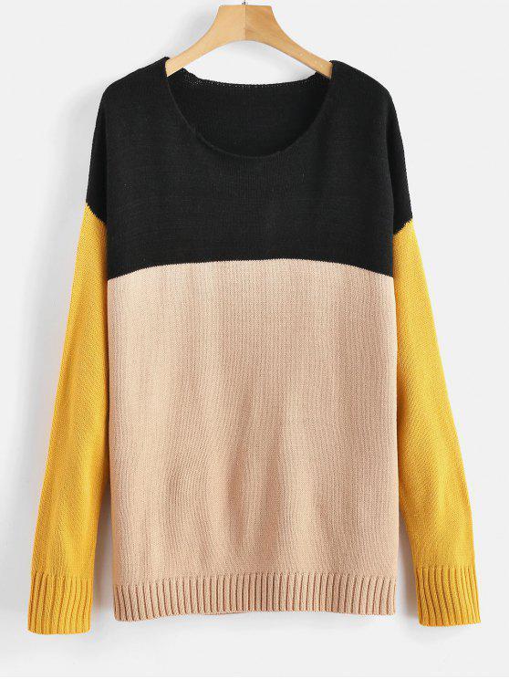 best ZAFUL Color Block Drop Shoulder Sweater - MULTI M