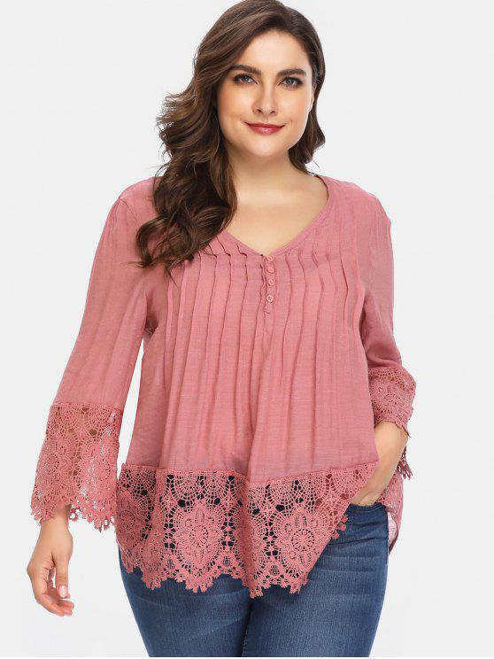 chic Lace Panel Ruched Plus Size Blouse - PINK L