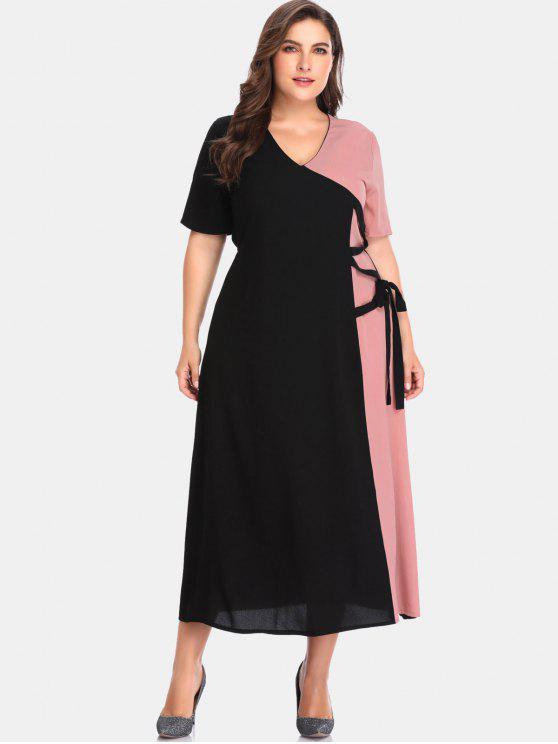 unique Two Tone Tie Plus Size Maxi Dress - BLACK 2X