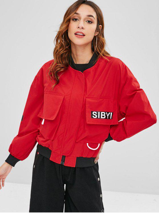 best Zipper Pockets Bomber Jacket - RED XL