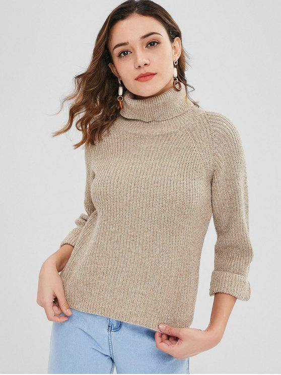 d07d0c199 49% OFF  2018 High Low Turtleneck Heathered Sweater In TAN ONE SIZE ...