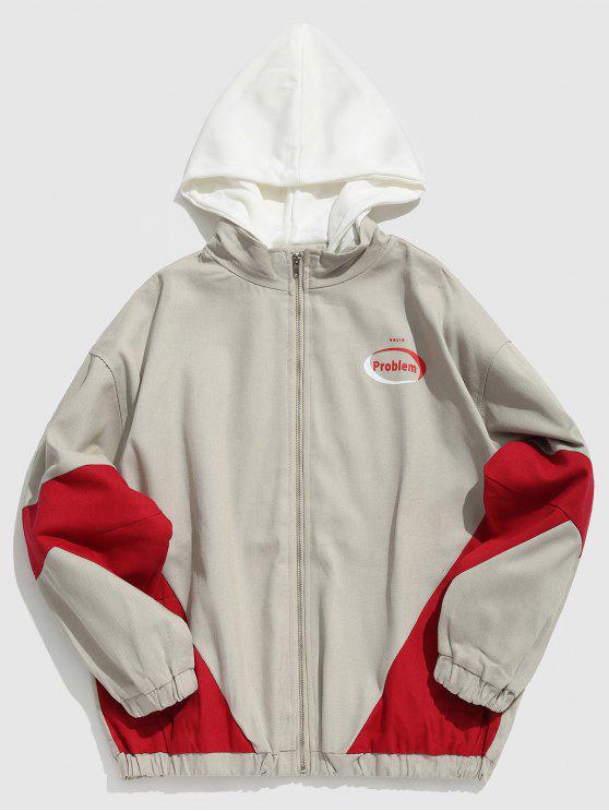 unique Color Block Hooded Zip Fly Jacket - PLATINUM M