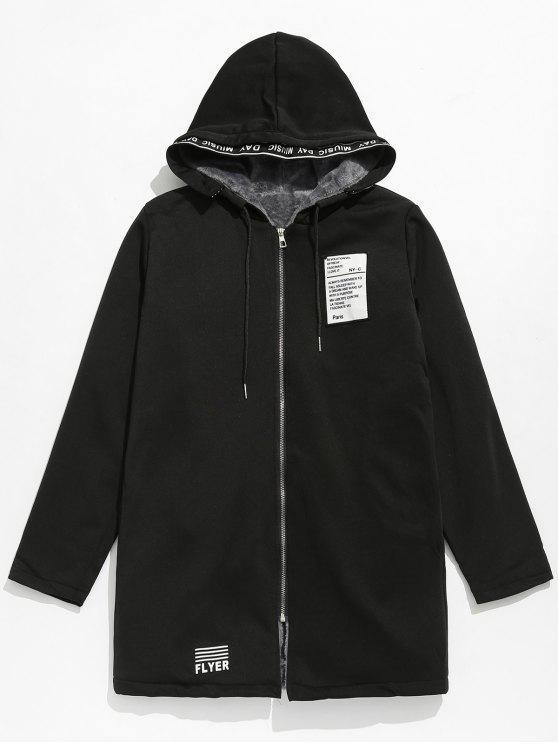 latest Applique Embellished Hooded Fleece Jacket - BLACK M