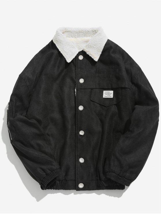 buy Button Fly Solid Color Fleece Jacket - BLACK XL