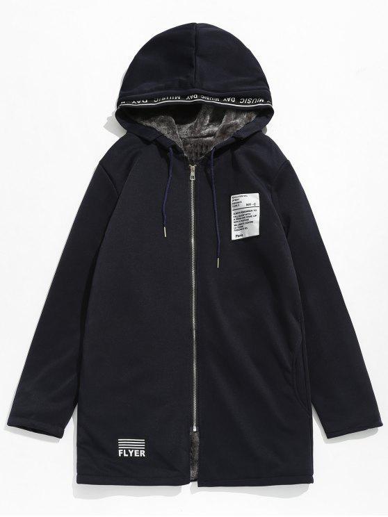 ladies Applique Embellished Hooded Fleece Jacket - DARK SLATE BLUE 2XL