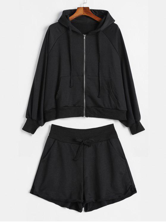 Übergroße Kapuzen-Shorts mit Reißverschluss Co Ord Set - Schwarz Eine Größe