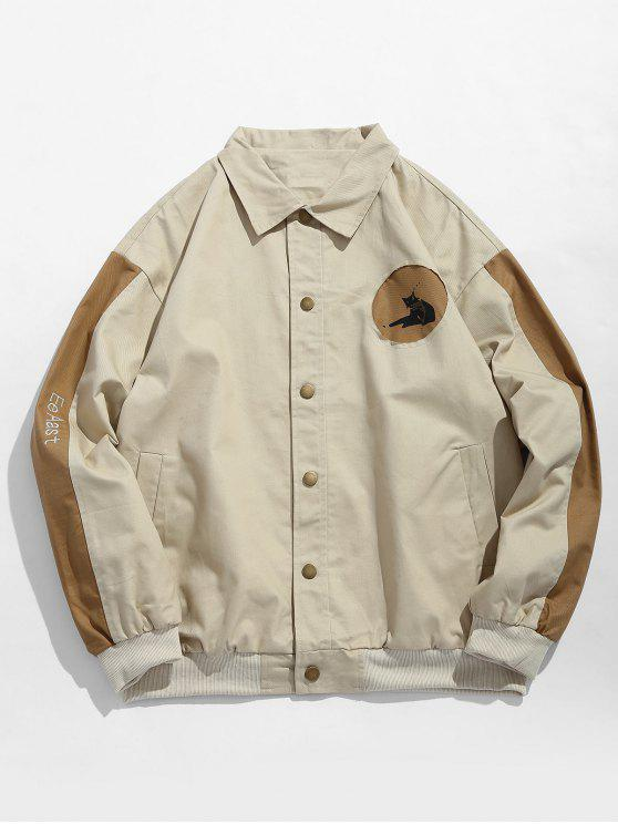 womens Color Block Animal Pattern Jacket - LIGHT KHAKI XL