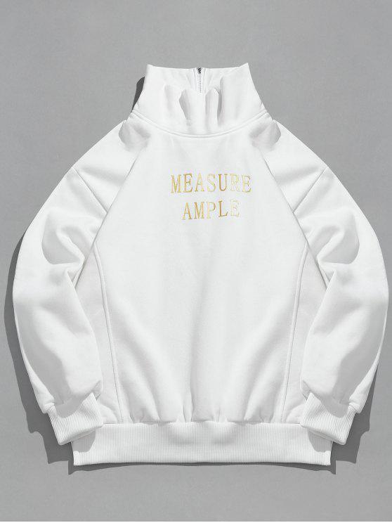 ladies Letter Print Side Split Fleece Sweatshirt - WHITE M