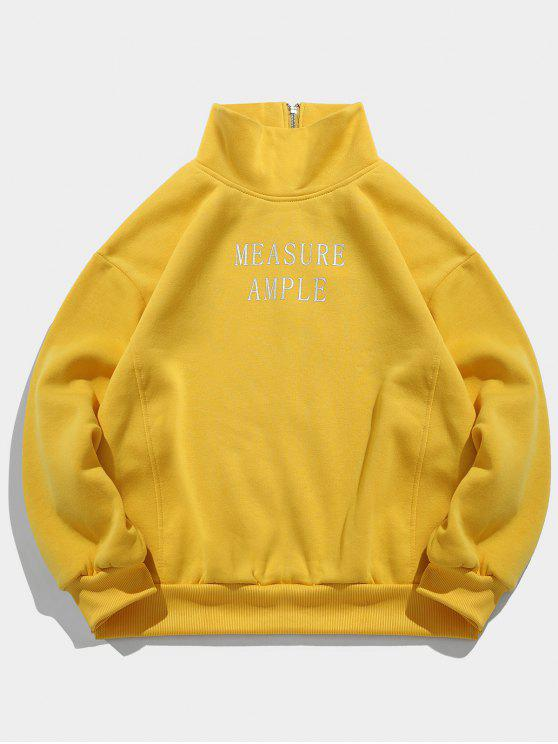 unique Letter Print Side Split Fleece Sweatshirt - BEE YELLOW XL