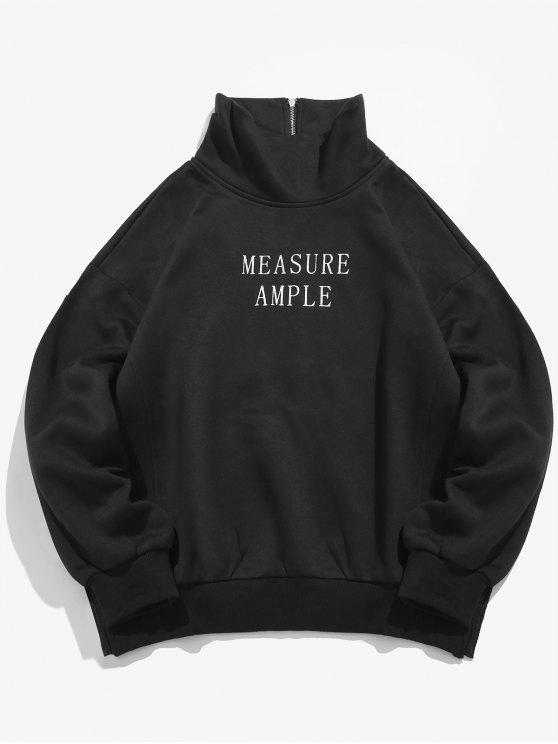 Buchstabe-Druck-Seitenspalten-Fleece-Sweatshirt - Schwarz S