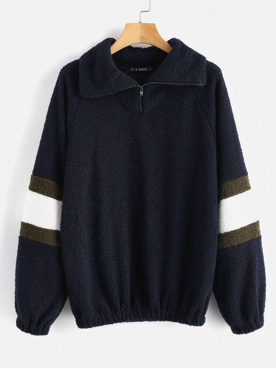 ZAFUL Strukturiertes Kunstpelz Sweatshirt - Dunkel Blau L