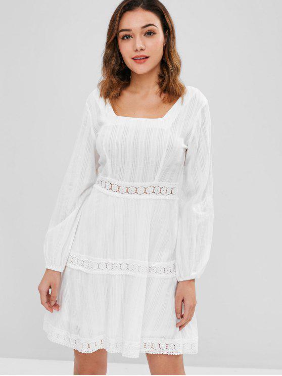 fancy ZAFUL Crochet Panel Mini Flare Dress - MILK WHITE L