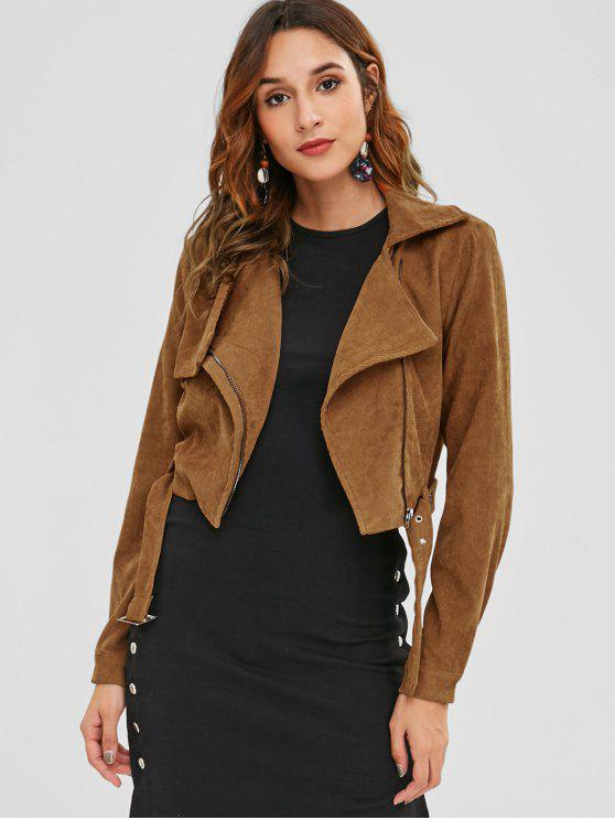 affordable ZAFUL Asymmetric Zipper Belted Corduroy Jacket - CARAMEL S