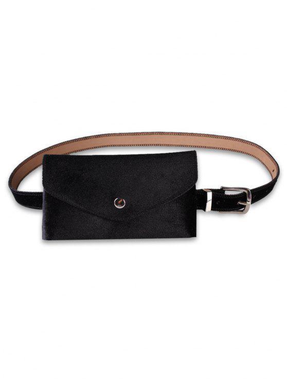 sale Solid Color Fanny Pack Belt Bag - BLACK
