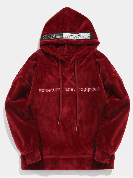 fashion Pullover Letter Printed Velvet Hoodie - RED WINE XL